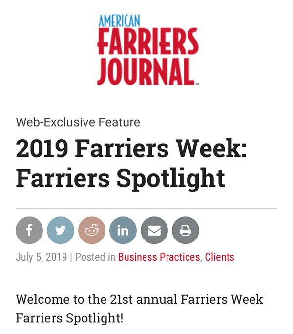 American Farriers Journal - 2019 (21st Annual) Farriers Week Spotlight