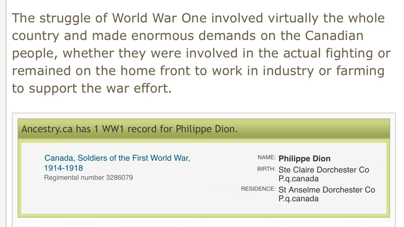 Philippe Dion - Army Service during World War I